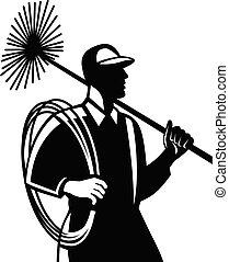 branca, segurando, varredura chaminé, varredor, retro, corda, vista, lado, pretas