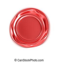 branca, selo, isolado, vermelho, cera