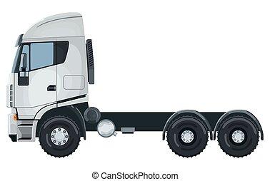 branca, sem, caminhão, reboque