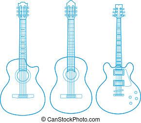 branca, silhuetas, violões, isolado, clássicas, vetorial