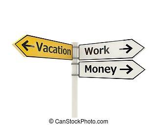 branca, sinal, isolado, estrada, férias