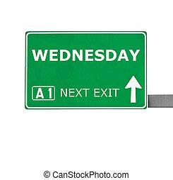 branca, sinal, isolado, estrada, quarta-feira