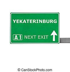 branca, sinal, isolado, estrada, yekaterinburg