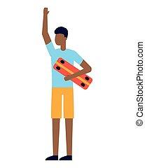 branca, skateboard, jovem, fundo, homem