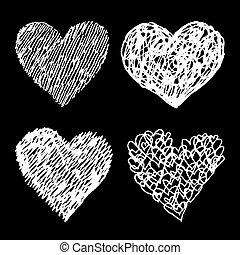 branca, sketched, corações, jogo, ligado, experiência preta