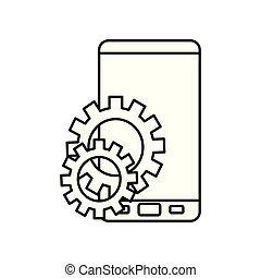 branca, smartphone, engrenagens, fundo