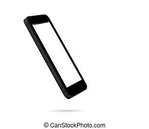 branca, smartphone, isolado, fundo