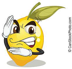 branca, smiley, limão