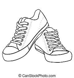 branca, sneakers., pretas, contorno, ilustração
