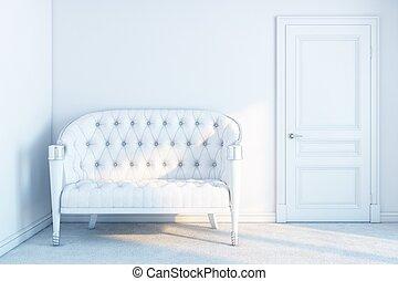 branca, sofá couro, em, um, branca, vazio