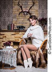 branca, suéter, bonito, mulher