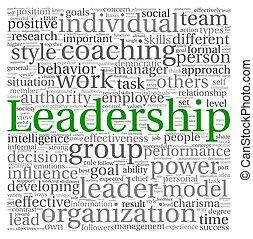 branca, tag, palavra, nuvem, liderança