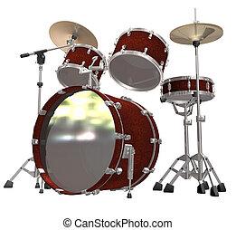 branca, tambor, isolado, equipamento