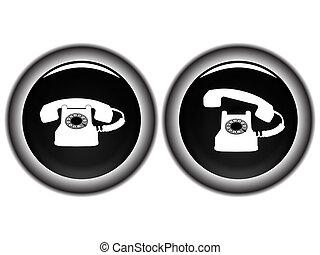 branca, telefone preto, contra, ícones