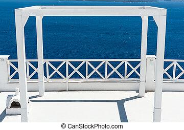 branca, terraço, em, santorini
