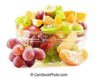 branca, tigela fruta, isolado, salada