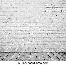 branca, tijolo, sala