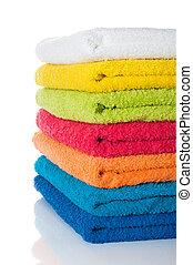 branca, toalhas, coloridos, pilha