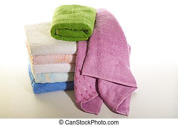 branca, toalhas, fundo, pilha