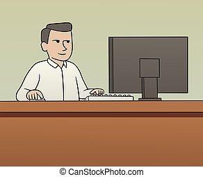 branca, trabalhador, colarinho