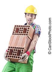 branca, trabalhador construção, isolado