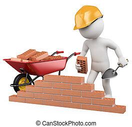 branca, trabalhador construção, pessoas., 3d
