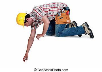 branca, trabalhador, isolado, fundo, ajoelhando