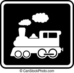 branca, trem, isolado, ícone