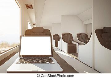 branca, trem, laptop