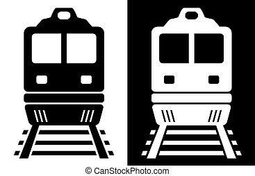 branca, trem, pretas, isolado