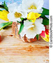 branca, tulips, em, um, cesta