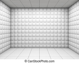 branca, vazio, acolchoado, sala