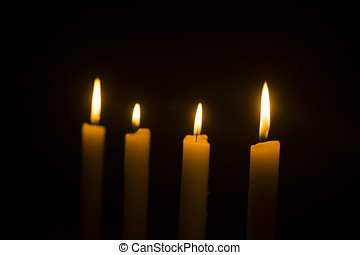 branca, velas queimando, ligado, escuro