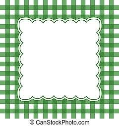 branca, verde, gingham, quadro
