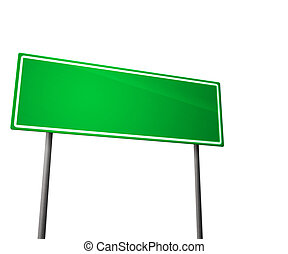 branca, verde, isolado, sinal estrada