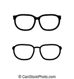branca, vetorial, óculos, fundo, isolado, ícone