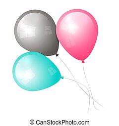 branca, vetorial, balões, isolado