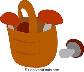 branca, vetorial, cesta, cogumelos, ilustração, experiência.
