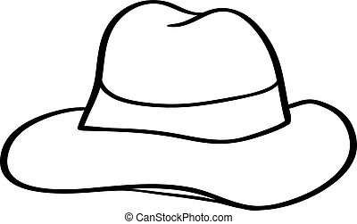 branca, vetorial, chapéu, fedora, isolado