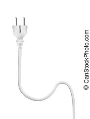 branca, vetorial, elétrico, cabo, plug.