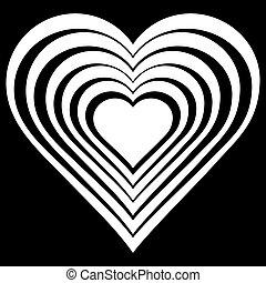 branca, vetorial, heart., ilustração