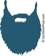 branca, vetorial, isolado, fundo, barba