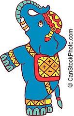 branca, vetorial, isolado, ilustração, elefante
