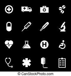 branca, vetorial, jogo, médico, ícone