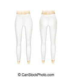 branca, vetorial, leggings, isolado, calças