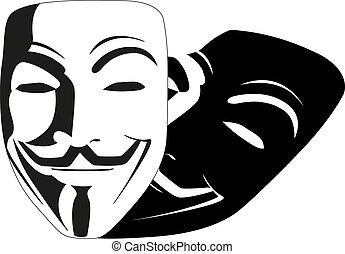 branca, vetorial, máscara, anônimo