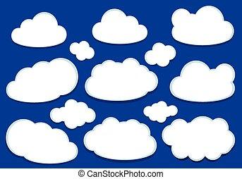 branca, vetorial, nuvens