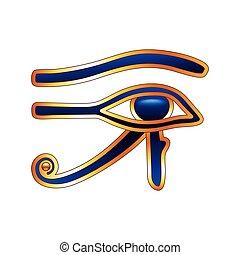 branca, vetorial, olho, isolado, horus