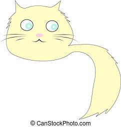 branca, vetorial, olhos, ilustração, experiência., gato, azul