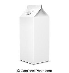 branca, vetorial, pacote, leite, ilustração